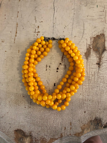 Golden Yellow Beaded Sylvie Statement Necklace
