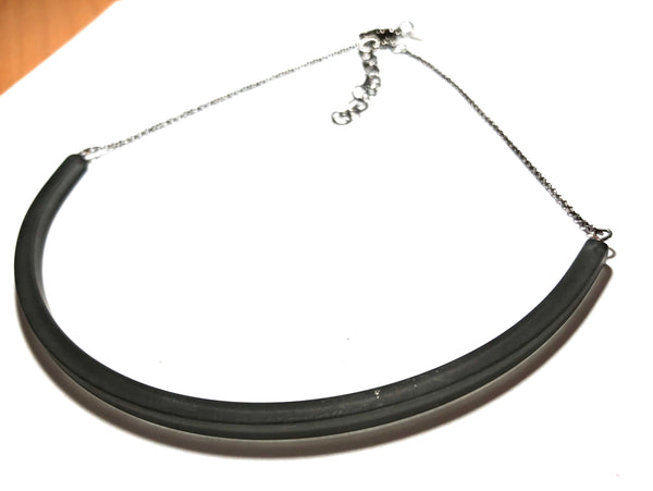 black plastic bar necklace