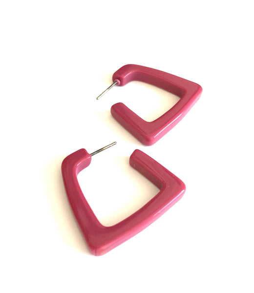 magenta square hoops
