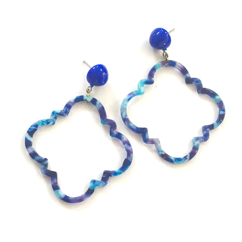Galaxy Blue Marbled Quatrefoil Earrings