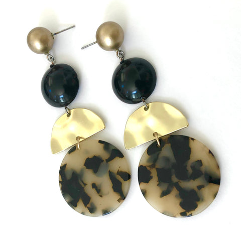 Blonde Tortoise & Matte Gold Statement Earrings