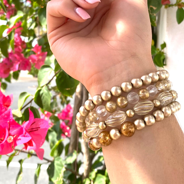 Gold Wash Scalloped Mercury Lucite Stack and Stretch Bracelets Set