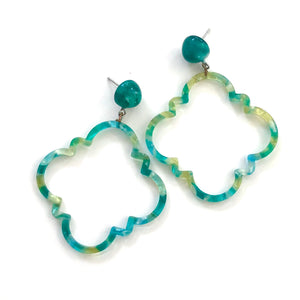 Bright Spring Green & Lemon Marbled Quatrefoil Earrings
