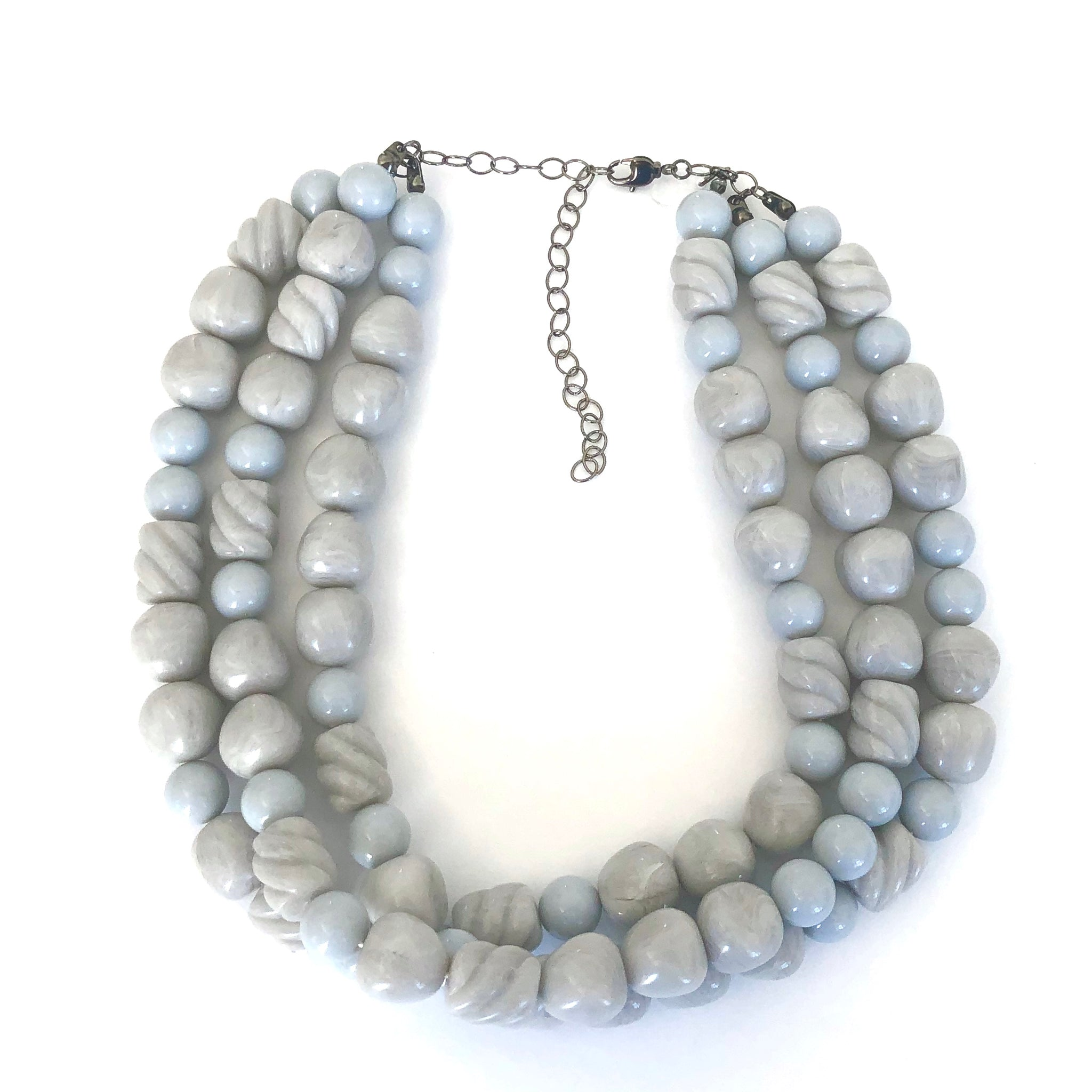 Light Grey Carved & Twists Beaded Morgan Necklace