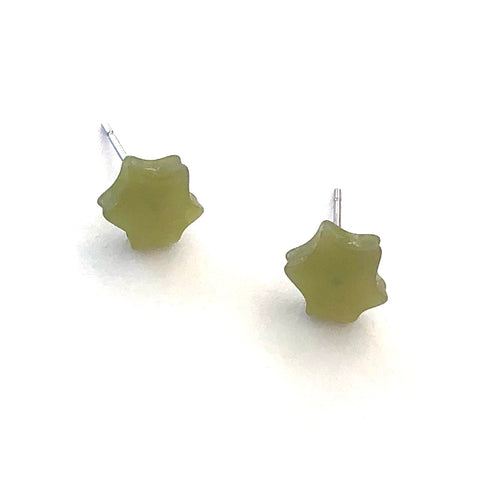 Sage Green Moonglow Mini Star Vintage Stud Earrings