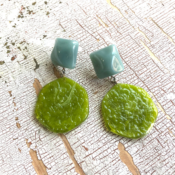 olive green retro earrings
