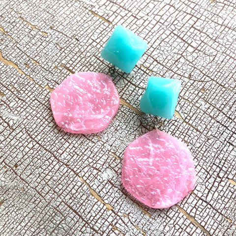 Turquoise & Pink Stained Glass Sophie Earrings