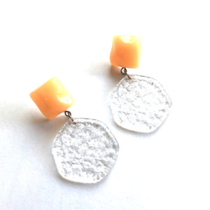 Orange & Clear Stained Glass Sophie Earrings