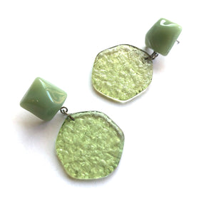 sage green drop earrings