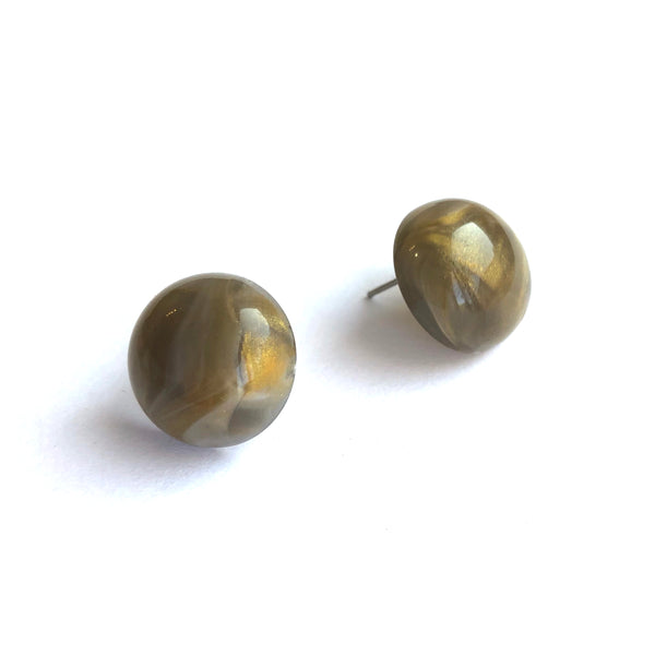 grey gold button studs