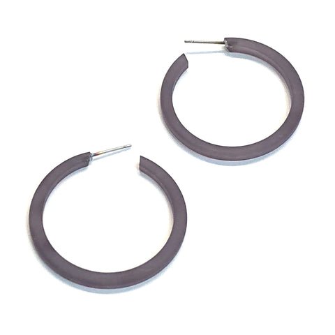 Charcoal Grey Thread Hoops | vintage frosted lucite hoop earrings