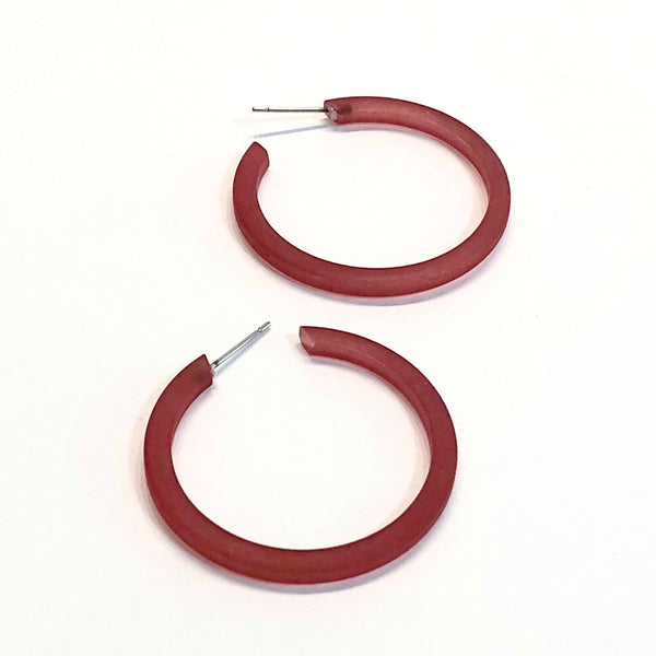 deep red hoop earrings