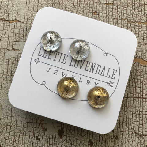 gold silver stud earrings