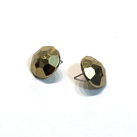 Metallic Gold Faceted Vintage Lucite Stud Earrings