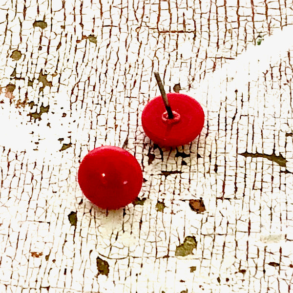 tiny red earrings
