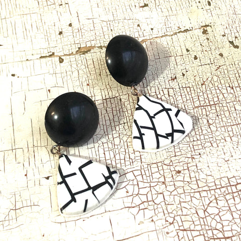 White on Black Mosaic Triangle Drop Earrings