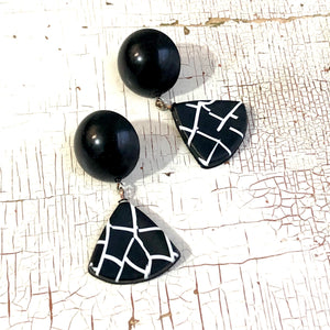 black white grid earrings