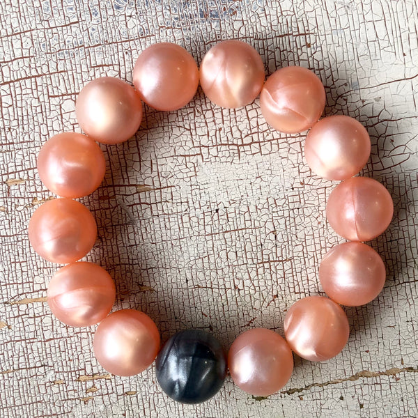 Peach Aura Glow with Charcoal Statement Stack Bracelet