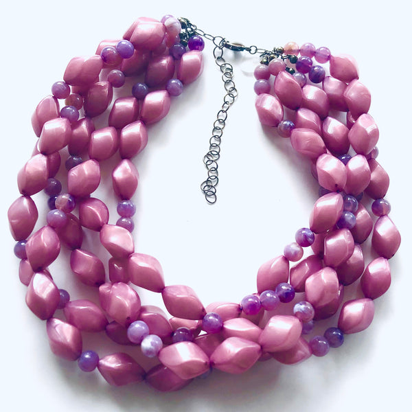 Purple Pearlized with Mauve Twist Beaded Sylvie Necklace