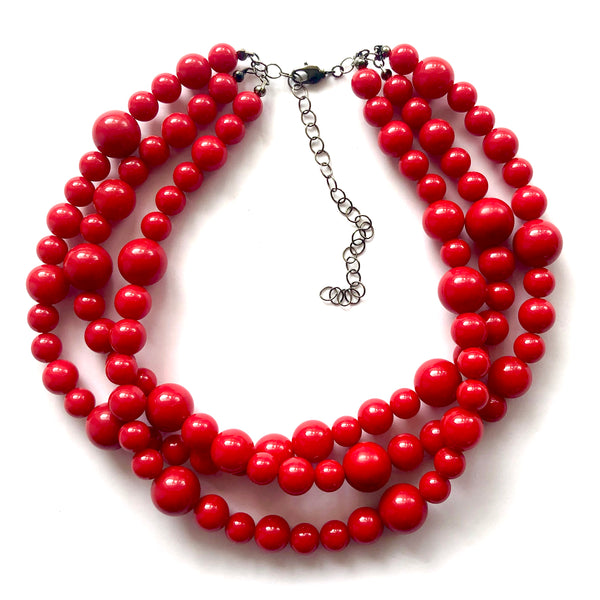 multi strand necklace red