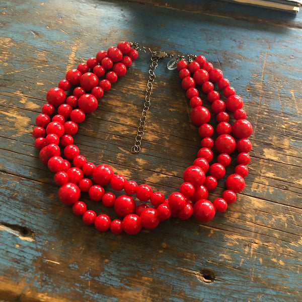 vintage lucite necklace red