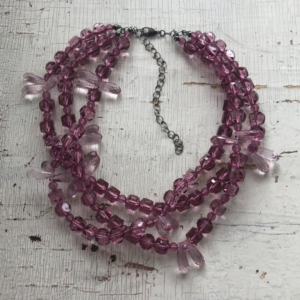 mauve crystal necklace