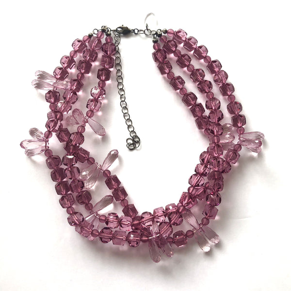 mauve crystal beaded necklace
