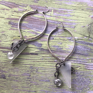 hammered metal cluster earrings