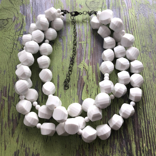 white faceted necklace
