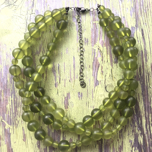 lime green beaded necklace