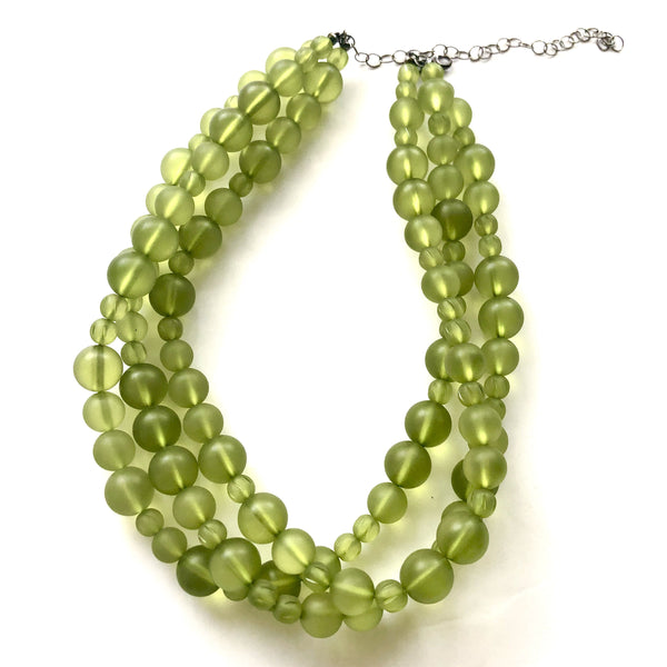 frosted green necklace