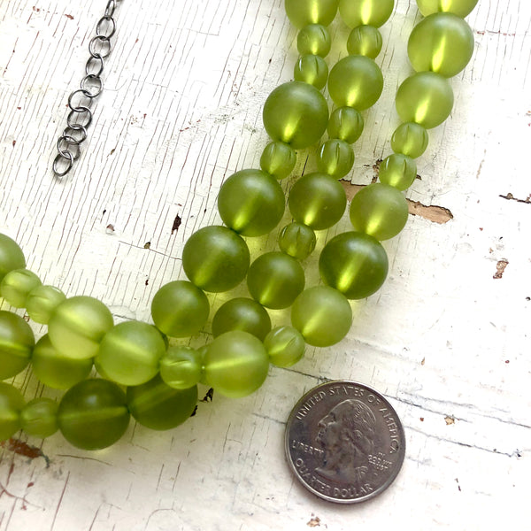 frosted green vintage beads