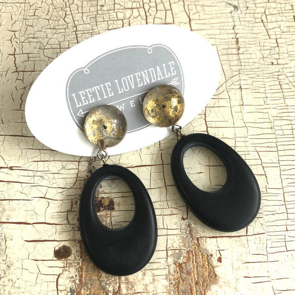 black and gold oval earrings
