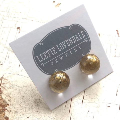 metallic gold stud earrings