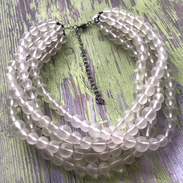clear frosted necklace