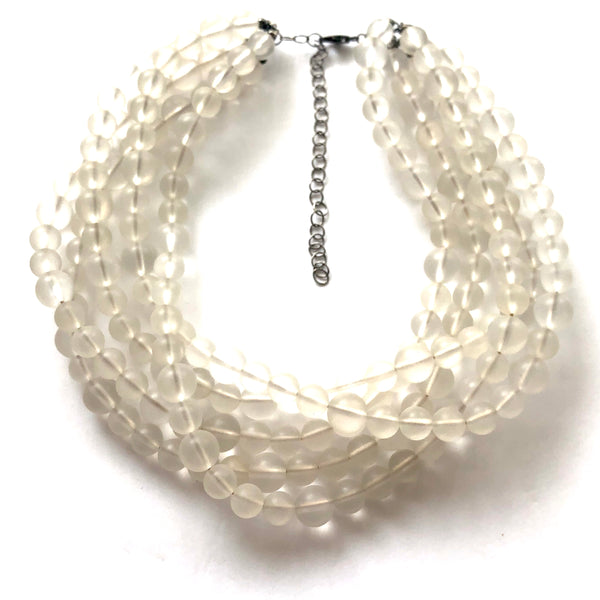 clear frosted lucite necklace