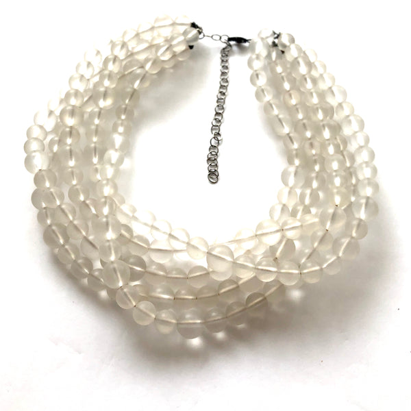 frosted clear lucite necklace