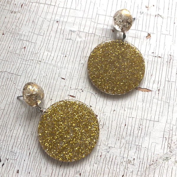 metallic gold statement earrings