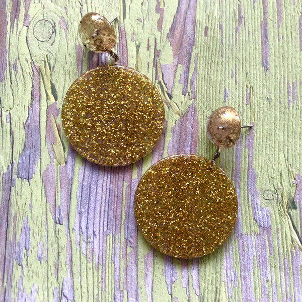 gold mercury glass earrings