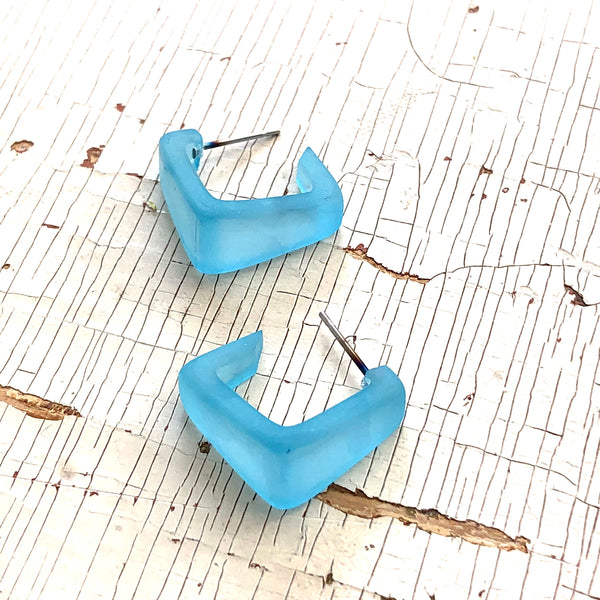 turquoise square hoops
