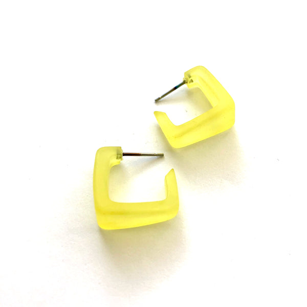 yellow square earrings