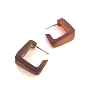 brown square earrings