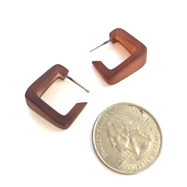 brown geometric earrings