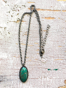 Green & Copper Aventurine Twisted Rope Gun Metal Layering Necklace - Shortie