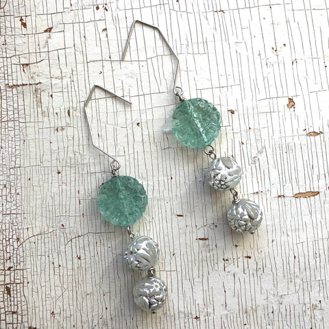 Seafoam Carved & Silver Floral Hex Drop Earrings