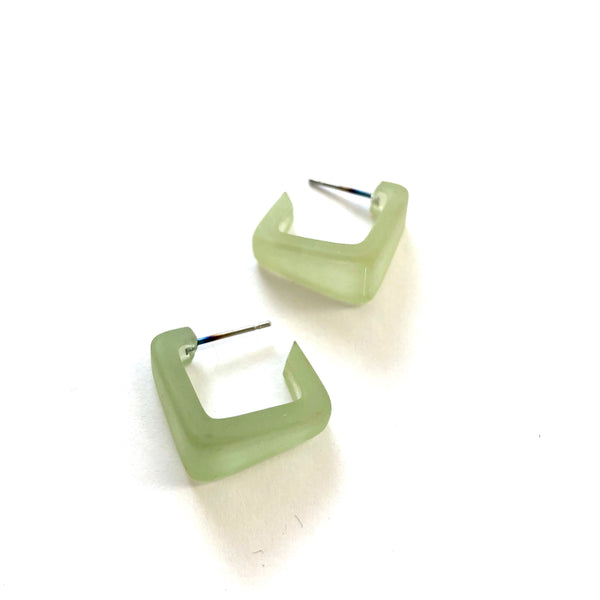 Sage Green Frosted Square Bermuda Hoop Earrings