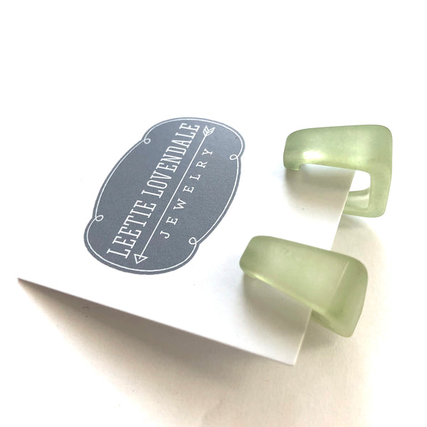sage green square earrings