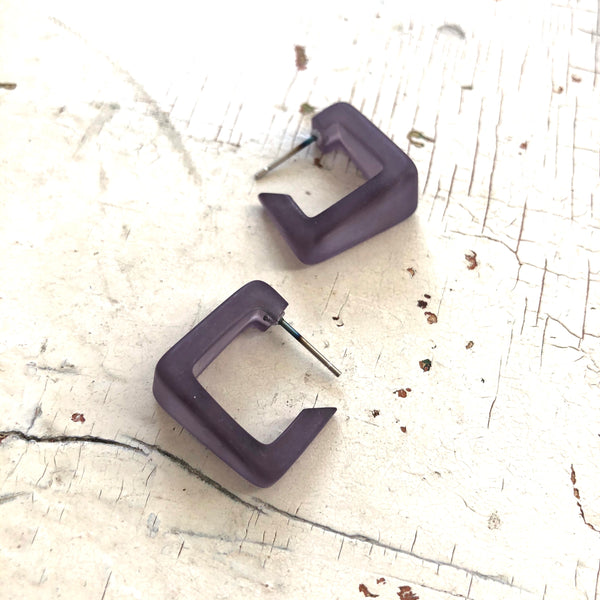 grey acrylic square hoops