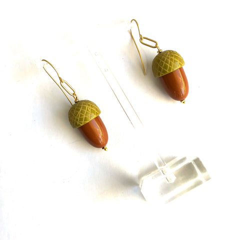 carved acorn earrings