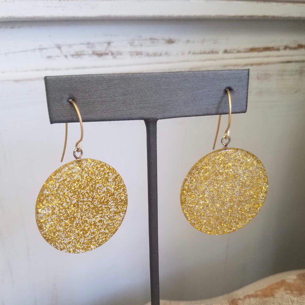 gold clear glitter earrings